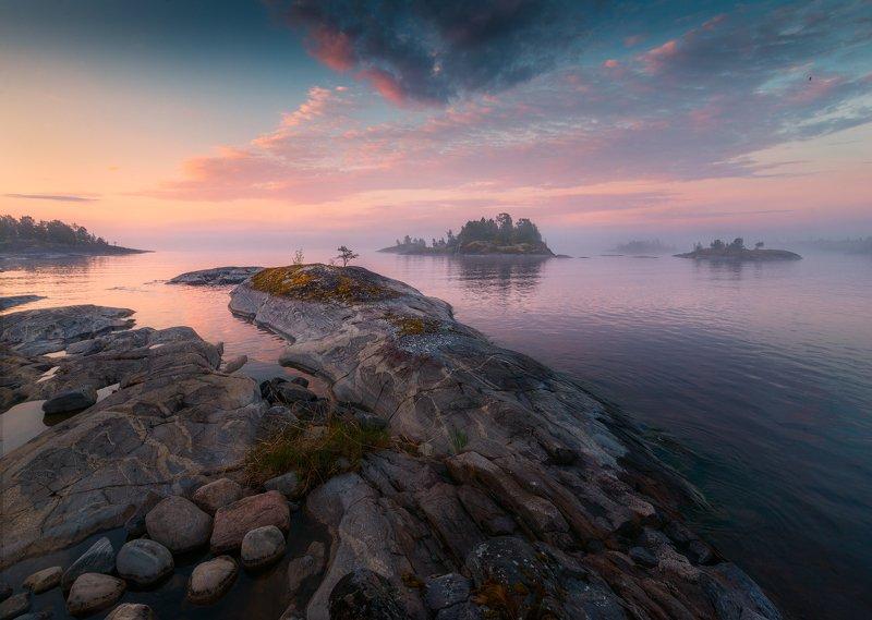 утро, ладога, рассвет, скалы, облака, озеро, остров, волны, вода, туман Перламутровое утроphoto preview