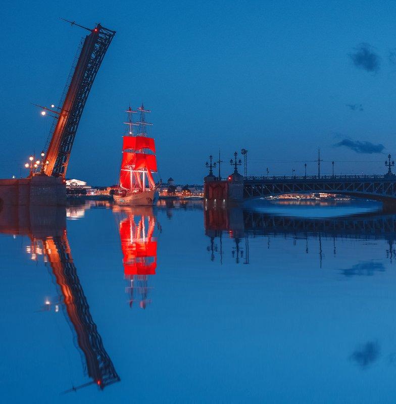 троицкий мост, отражение, алые паруса, кораболь, санкт-петербург, питер Алые Парусаphoto preview