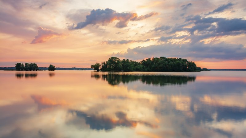 sunset, water, sky, cloud, reflection, lake, tree A magical sunrise on the Mietkowski lakephoto preview