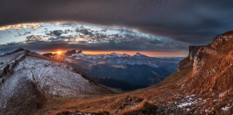 закат, большой тхач, малый тхач, асбестная, горы, пейзаж, рассвет, кавказ, адыгея, ачешбоки \