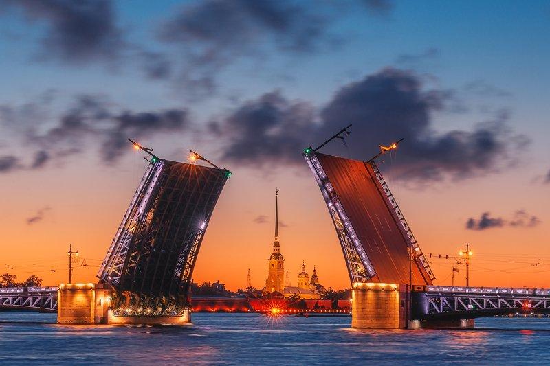 санкт петербург, питер, мост, небо, город, река, петропавловская крепость Дворцовый мост на рассветеphoto preview