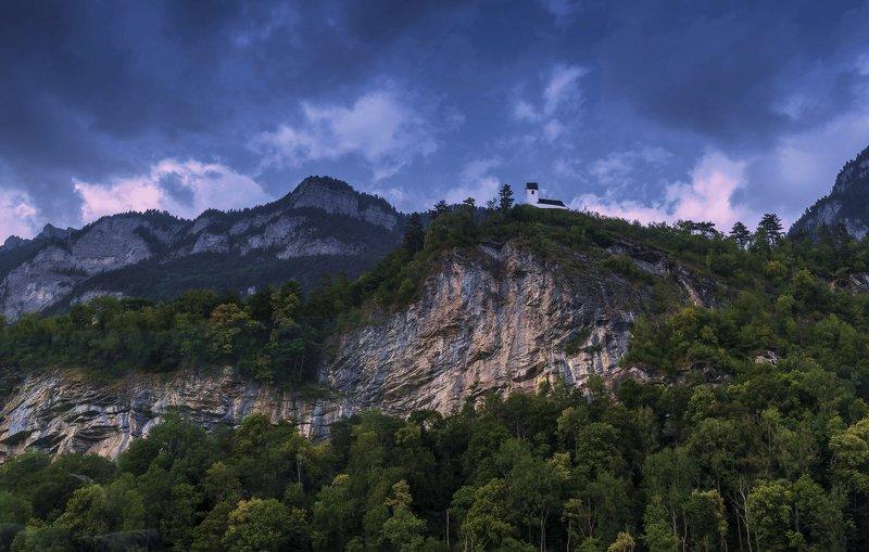 вечер, закат, альпы,горы Домик в вечерних Альпахphoto preview
