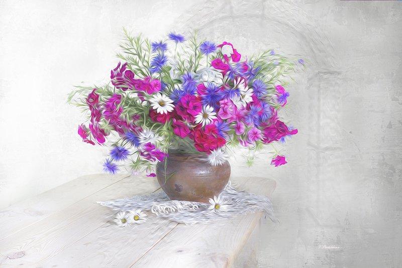 натюрморт,цветы,лето,белый,фон,вера павлухина, Летняя аварельphoto preview