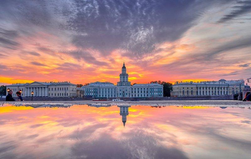 питер, петербург, город, пейзаж, вечер, река, rekhov Перламутровая набережная в Питереphoto preview
