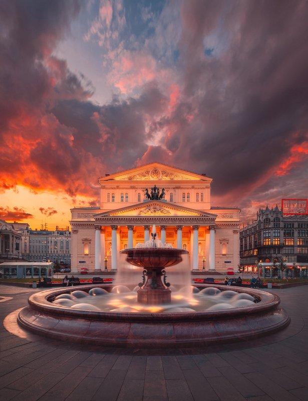 большой театр, закат, фонтан, достопримечательность, архитектура, москва, россия Вечер у Большого театраphoto preview