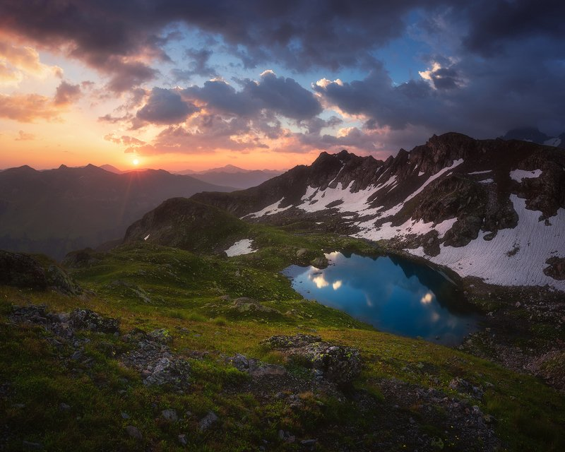 рассвет, горы, озеро, кавказ, пейзаж, карачаево-черкесия Так видит планетаphoto preview