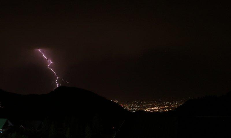 природа, шаварёв, фотография, Гроза в горах на фоне города.photo preview