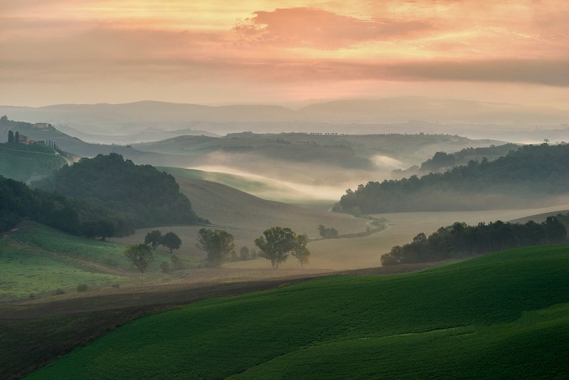 landscape, pievina, italy, field, fog Tuscanyphoto preview