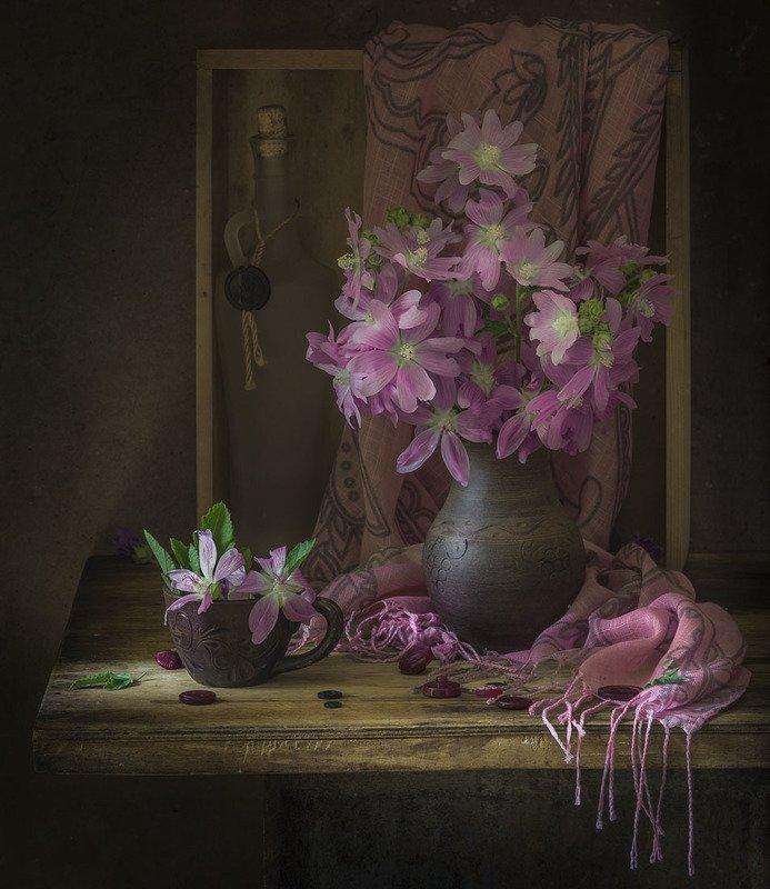 натюрморт,алтей,мальва,букет,цветы Летоphoto preview