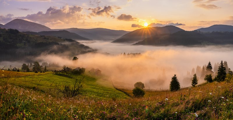 карпаты, туман, рассвет Дыханиеphoto preview