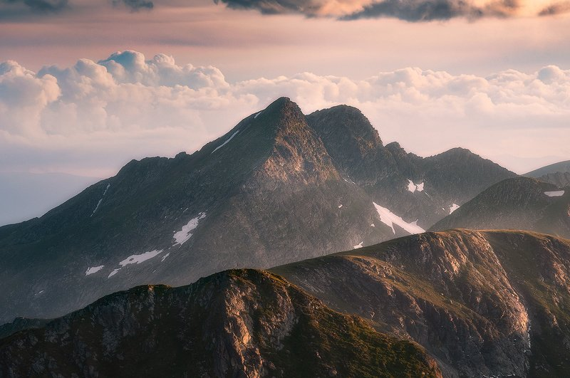 fagaras, romania, landscape, sunset Head in the cloudsphoto preview