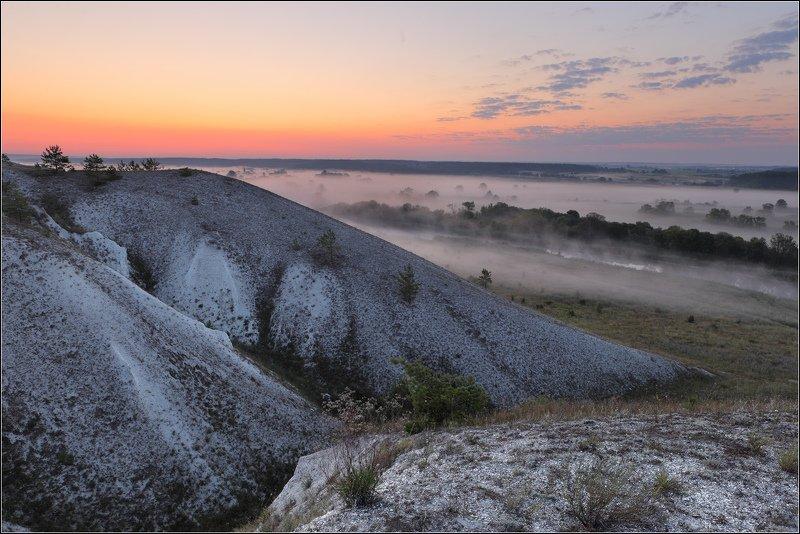 Утро река мел горы Июльский снег... Мел.photo preview