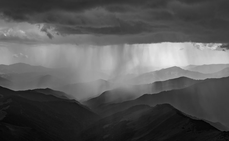 mountain, sunset, summer, ridge, landscape, travel, nature, peak ,romania, lake, light, rodnei, rain, storm Dark Rainphoto preview