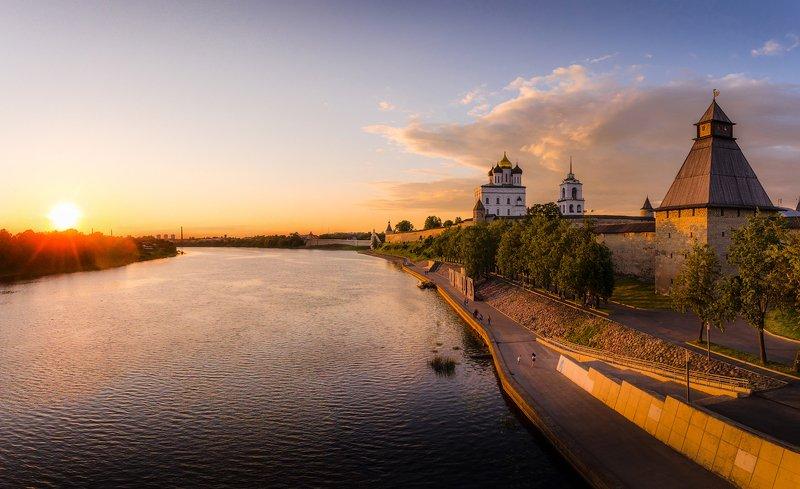псков, россия, река, великая, лето, закат Псковphoto preview
