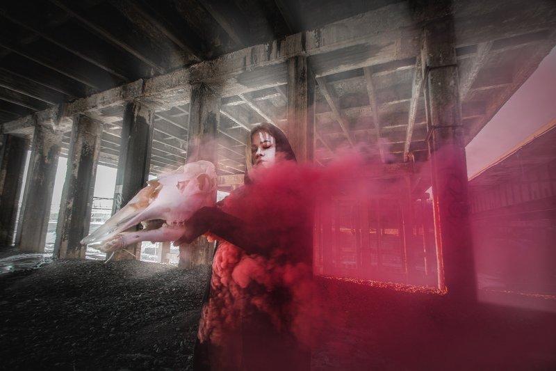 дым, портрет, девушка,  улица,  фешнт, абстракция,  арт REDphoto preview