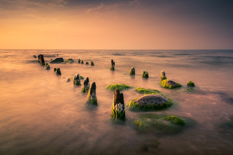 baltic, sea, water, waves, sunset, breakwaters, Baltic Seaphoto preview