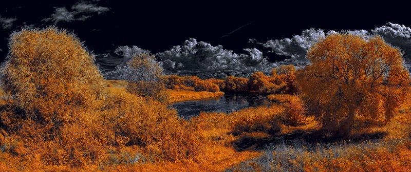 infrared,ик-фото,инфракрасное фото, инфракрасная фотография, пейзаж, лето По течению в облака.photo preview