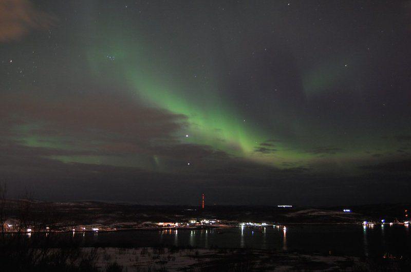 северное сияние, кольский п-ов, венера и юпитер Aurora Borealisphoto preview