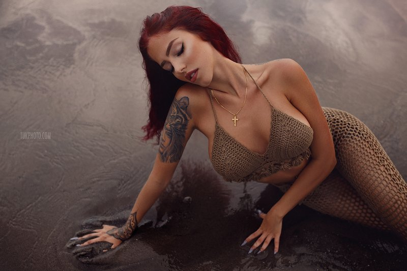 bali beach sand volcano sand black beach ocean sea red hair fitness model  Bali babephoto preview
