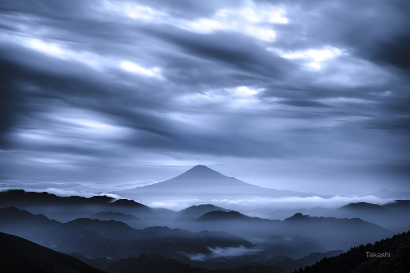 Fuji,mountain,Japan,clouds,gray,amazing,blue, Gray dawnphoto preview