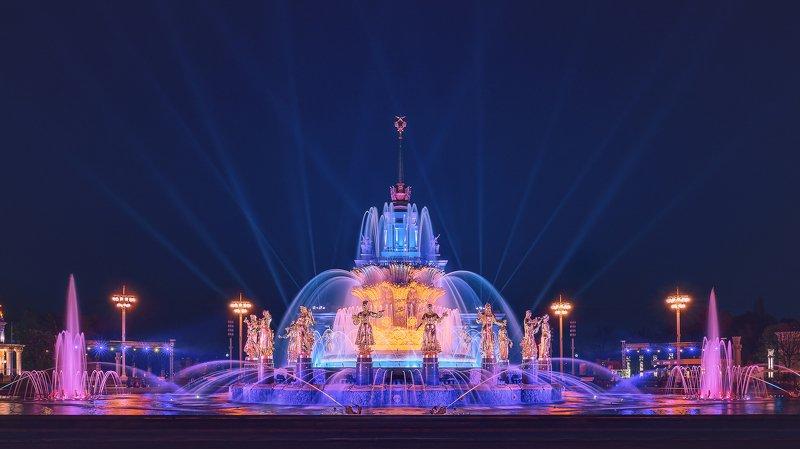 вднх, москва, фонтан, ночь, фонтан дружбы народов, город, Фонтан Дружбы Народовphoto preview