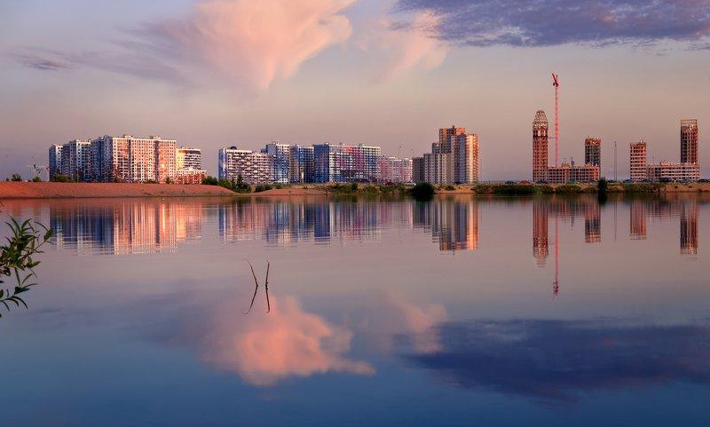 город,вечер,озеро,отражения,небо,облака,архитектура,строительство Вечер.photo preview