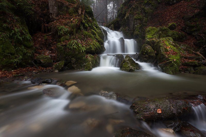 slovaka, waterfall, water, mountain, rock, long exposure, nature, forest, fog, Kremnicke vrchyphoto preview