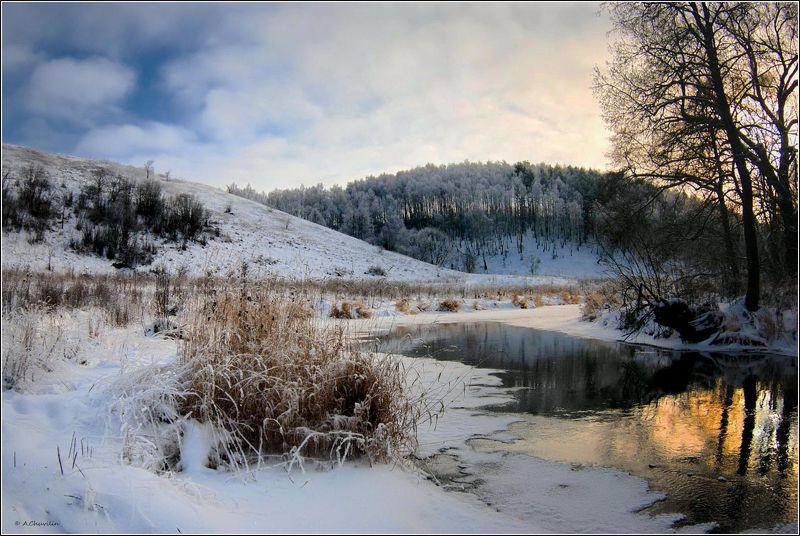январь,закат,река,вашана Январский закат у р.Вашанаphoto preview