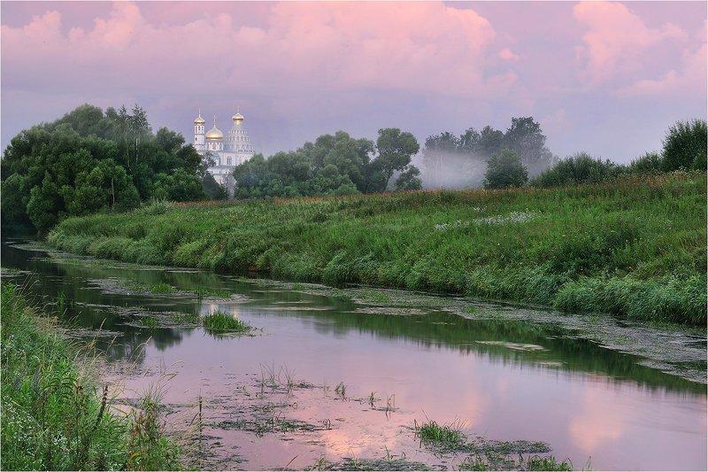 лето, утро, туман, река, монастырь, Розовый рассвет.photo preview