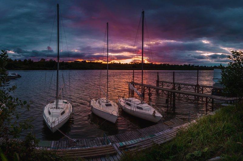 вечер, закат, яхты, парусники, лето ***photo preview
