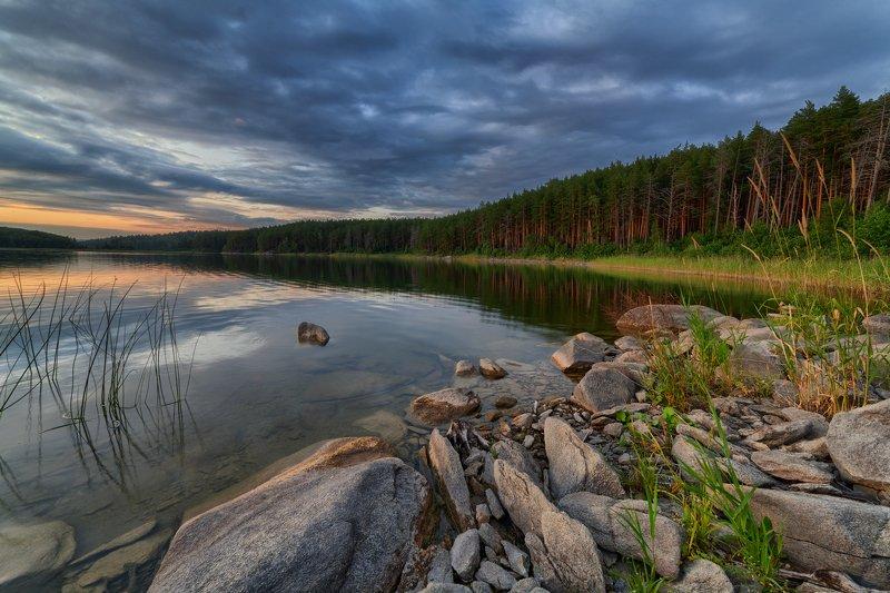 озеро, закат, вечер, горы, вода, камни, берег, южный урал, лето ***photo preview