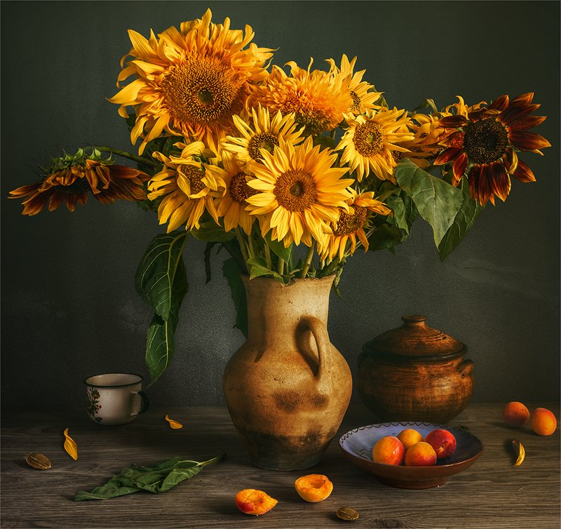 still life, натюрморт,    винтаж,    цветы,  подсолнух, лепесток, букет, абрикосы, еда, спелый, ретро, чашка, натюрморт с подсолнухами и абрикосамиphoto preview