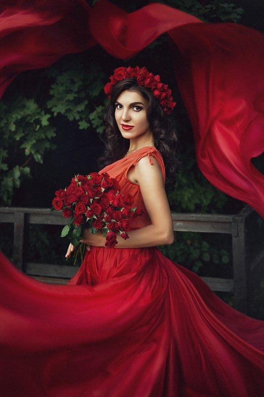 девушка, красный, роза, портрет Розочкаphoto preview