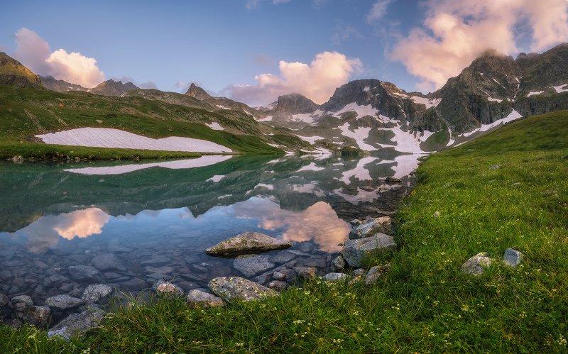 северный, кавказ, большое имеретинское озеро, вечер, июль, Вечерние отраженияphoto preview