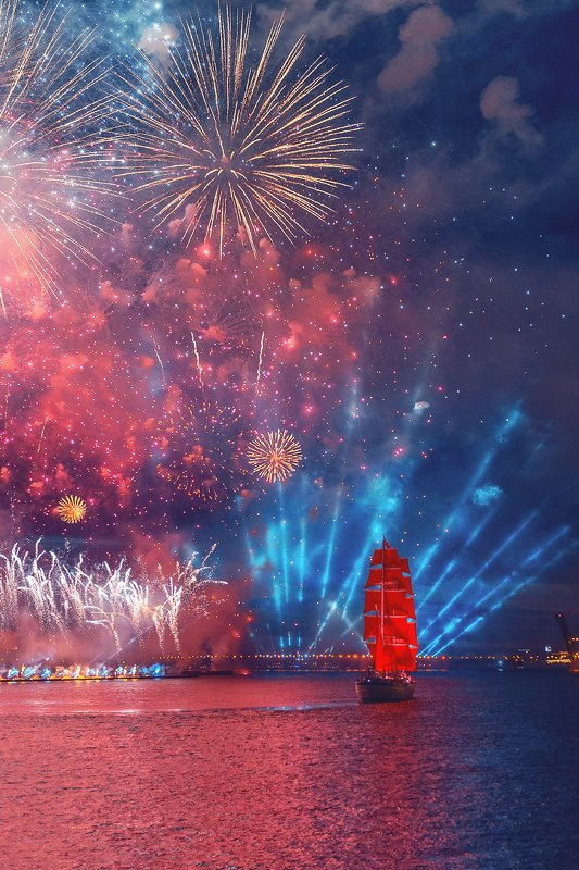 санкт-петербург, ночь, корабль, алые паруса, салют, россия, праздник, выпускной  Салют на Алые Парусаphoto preview