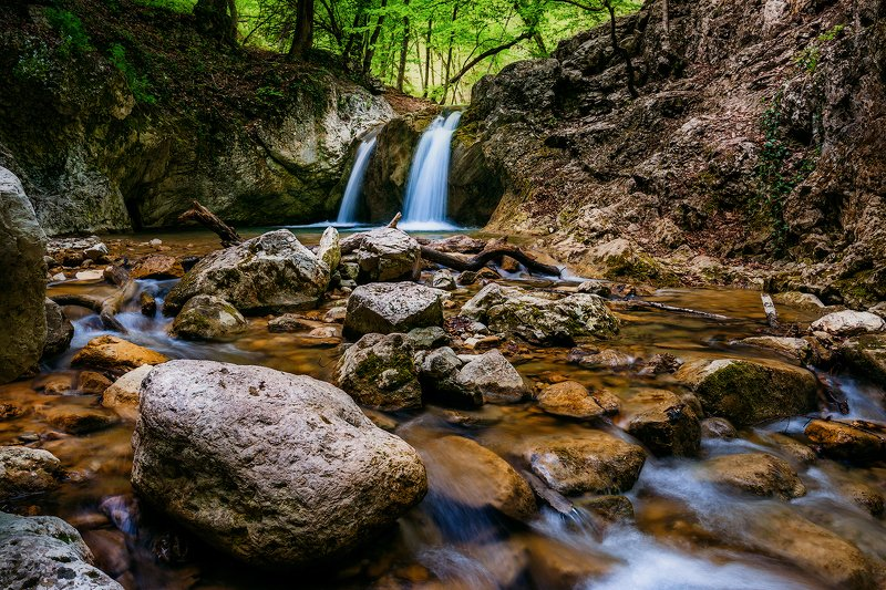 крым, водопад, лес, река, пейзаж, лето Крым. Лесная тишина.photo preview