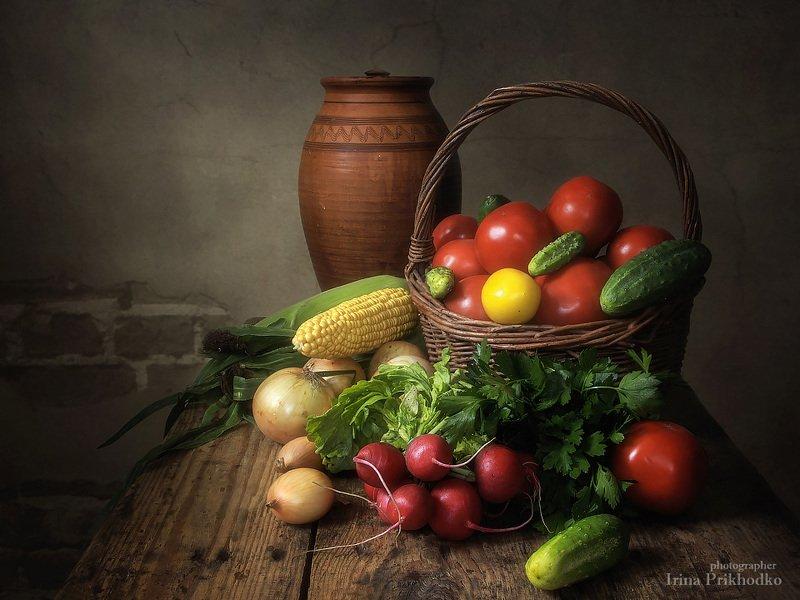 натюрморт, винтажный натюрморт, ретро, художественное фото, овощи Натюрморт с овощамиphoto preview