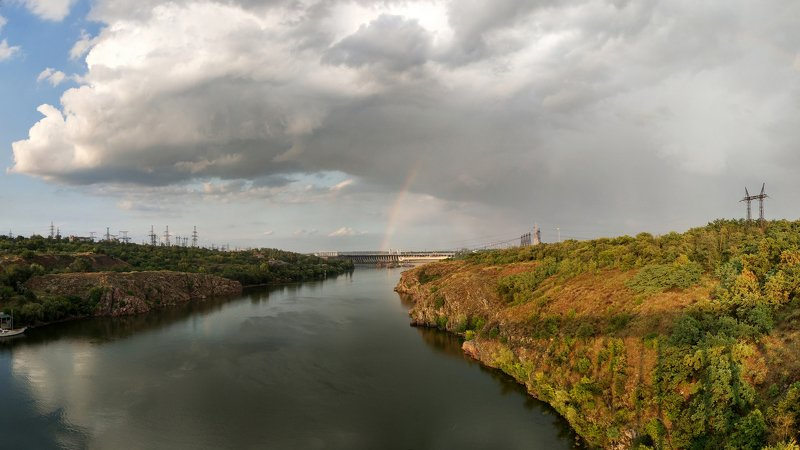 радуга,река,облака,свет,берег,пейзаж ***photo preview