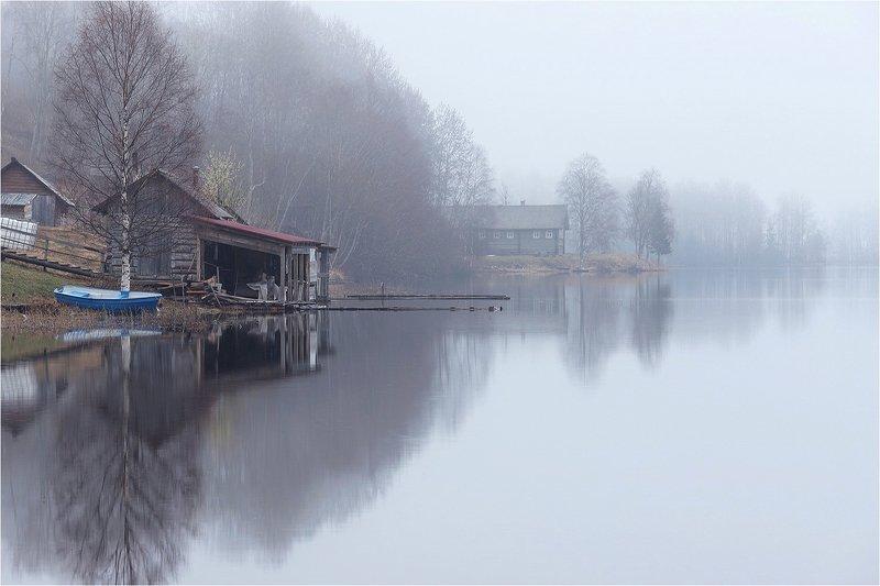 утро, весна, озеро, туман, лодка, дом Про туман.photo preview