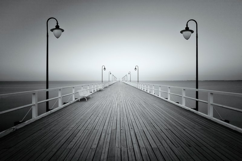 pier, baltic, poland, bw, sea, wooden, nobody,,  Baltic pierphoto preview
