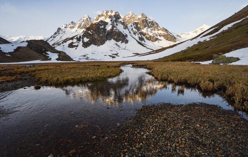 горы, озеро, рассвет, отражение Отражение утраphoto preview