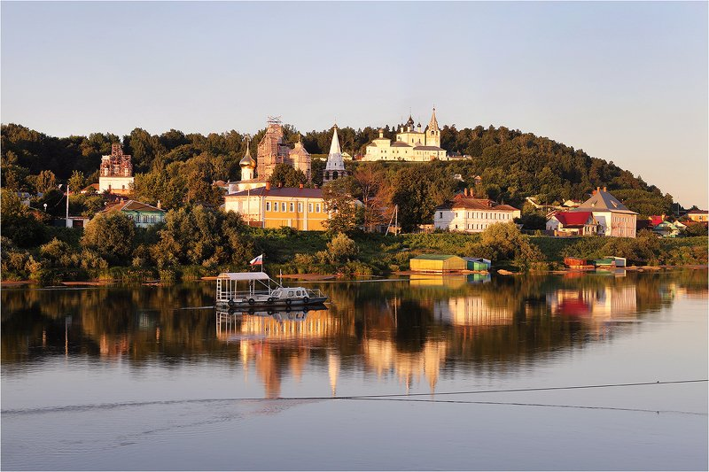 раннее утро, лето, река, город, берег, Гороховец на Клязьме.photo preview
