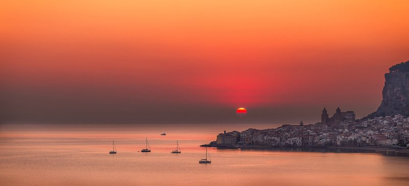 cefalú, sicily, italy, town,sunrise, yacht, sun, morning, island, sea,  Cefalú sunrisephoto preview