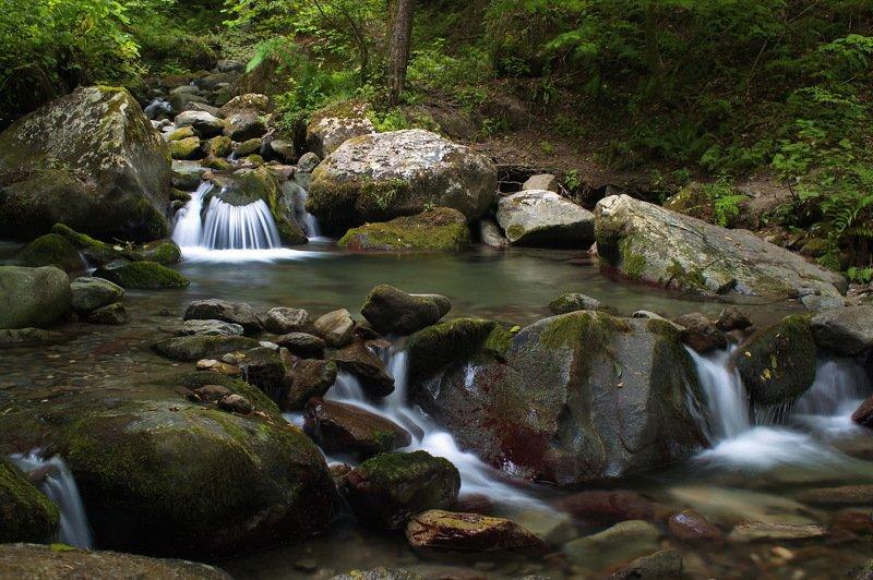 горы август речка Прохлада горной речки.photo preview