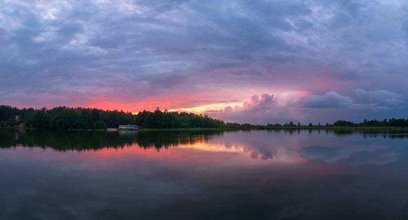 псков Закат на озере.photo preview