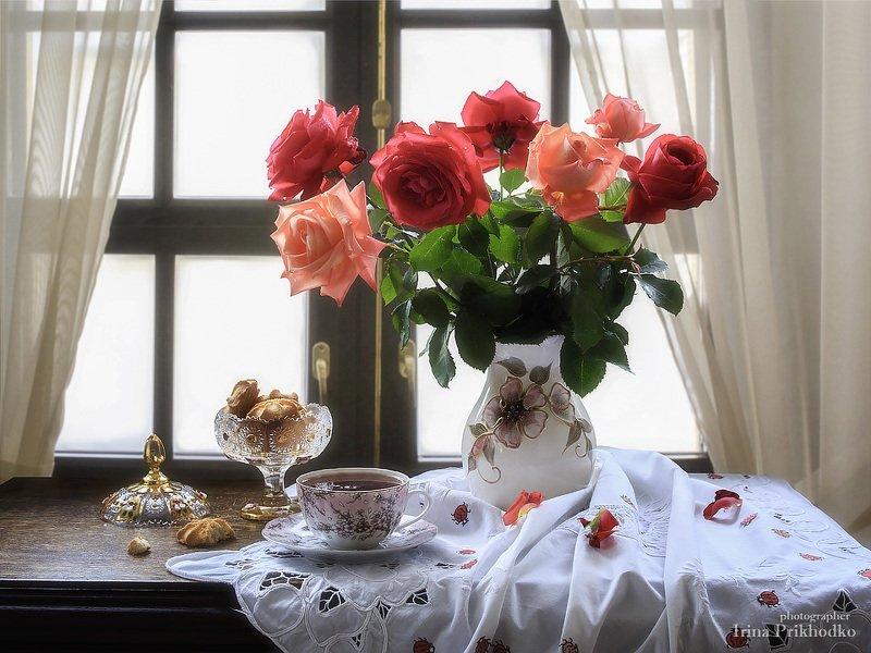 натюрморт, интерьер, букет, розы, чай, лето Утренний чайphoto preview