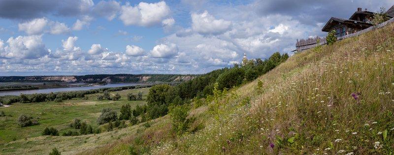 панорама, Иртыш, Абалак, август, дали Крутые горки Абалака.photo preview
