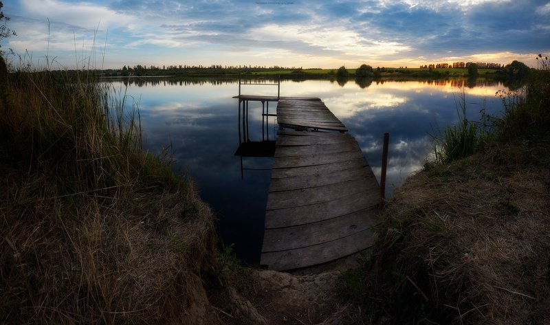 озеро, причал, мостик, закат, панорама, природа, вечер На закате дняphoto preview