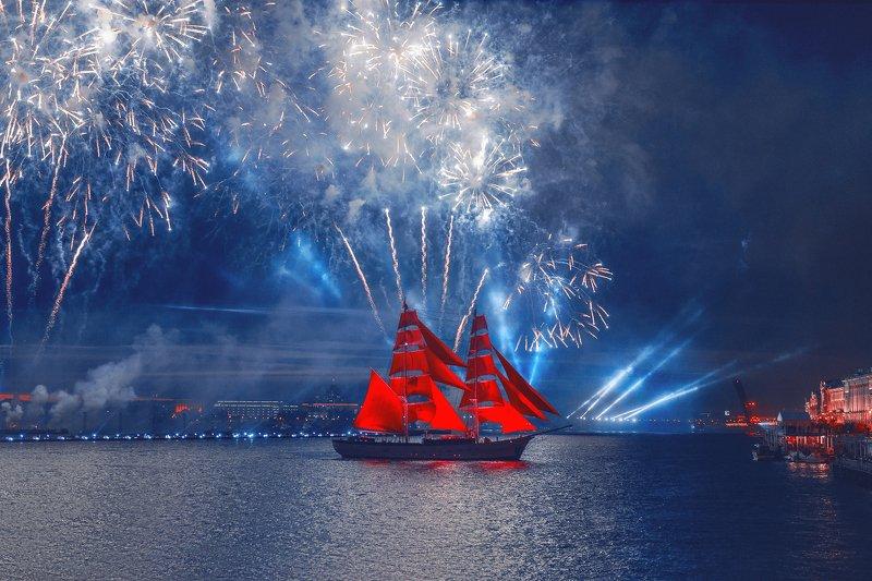 санкт-петербург, ночь, корабль, алые паруса, салют, россия, праздник, выпускной  Алые Парусаphoto preview