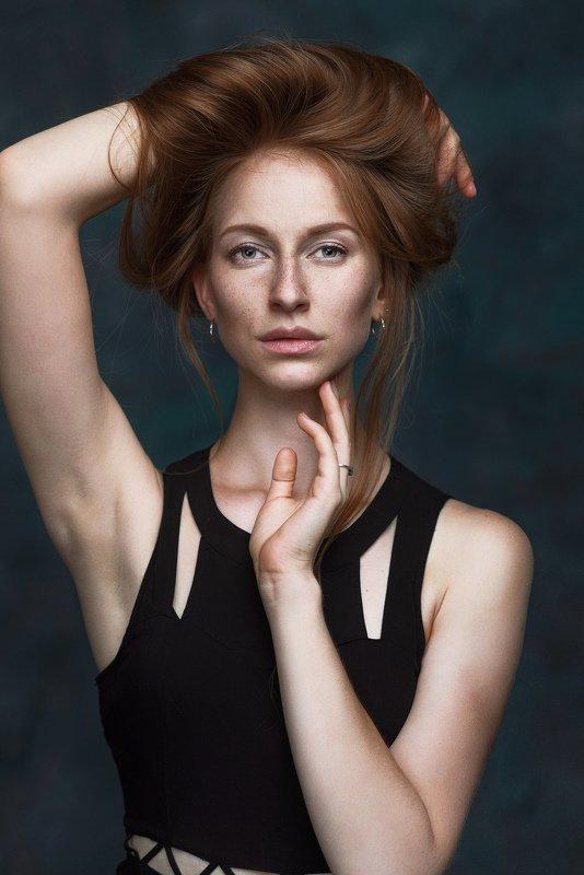 портрет, веснушки, рыжая, волосы, губы ***photo preview